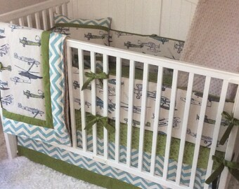 Baby Boy Crib Bedding Vintage Airplanes Khaki Green and Blue