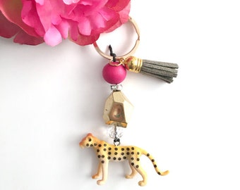 cheetah keychain - beaded keychain - bag charm keychain - bohemian women's accessory - women's gift