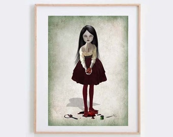 Gothic Art Print - Girl Holding Heart - Bloody Heart Print - Goth Love - Take My Heart