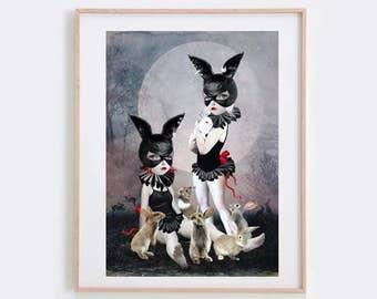 Pop surrealism art print - pop surrealism - Rabbit Girls & Rabbits - Rabbits Art Print -  - Rabbit Rendezvous