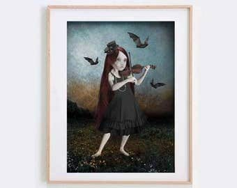Gothic Art Print - Goth Girl & Violin - Girl And Bats - Gothic Lolita Art - Bat Art Print - The Song She Played