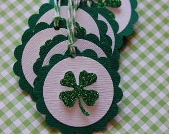 Sparkle Shamrock Tags-Set of 10-Shamrock-Four Leaf Clover-St Patricks Day-Irish Wedding-Favor Tag-Clover-Kids-Gift Tag-Ready to Ship
