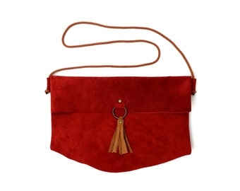 Fold Over Red Suede Bag. Large Suede Clutch with Tassel -Amenta-