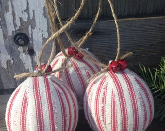 Rustic Christmas Ornament Red Ticking