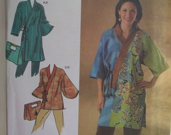 Misses' Loose Fit Kimono Simplicity 4134 Sewing Pattern, Wrap Front with Tie Closure, Wide Sleeves, Fashion Purse or Bag Size 4 - 16 UNCUT