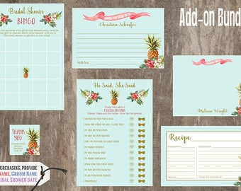 Tropical Bridal Shower Invitation Add On Accessories , Bridal Shower Games, Tropical Bridal Shower, Pineapple Bridal Shower