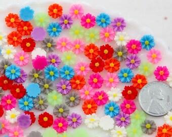 Mini Flowers - 7mm Super Tiny Mini Daisy Flatback Resin Cabochons - 45 pc set