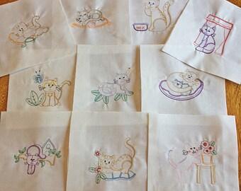 Colorwork Kitties Machine Embroidered Quilt Blocks