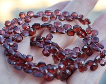 Gem Red Mozambique Garnet 5-5.5mm Faceted Heart Briolette Drop 10 beads set
