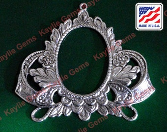 2 Art Nouveau Filigree Stamping Frame Work Connector Finding Baroque Victorian Style Antique Silver - G6105RB