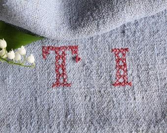 E 243 antique  grain sack; 리넨; RARE PASTEL BLUE ,  upholstery fabric 38.58long french lin, wedding, tablerunner, grainsack, doityourself