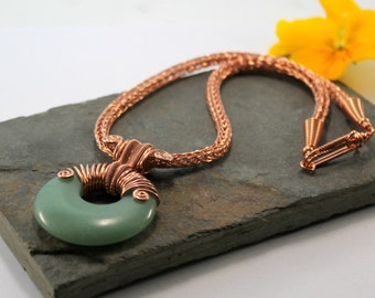 Alkebulan - Copper Viking knit chain with Green Aventurine wire wrapped Agogo donut
