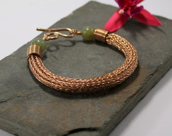 Viking knit bracelet - Double knit Bronze wire and Jade