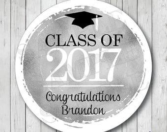 Personalized Faux Silver Foil Graduation Stickers, Class of 2017 Stickers, Graduation Tags, Graduation Labels