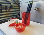 Red Blown Glass Desk Acce...