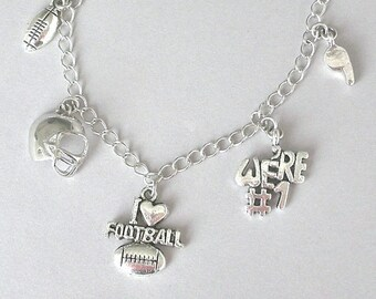 Football necklace or football bracelet, football charm necklace, antiqued silver