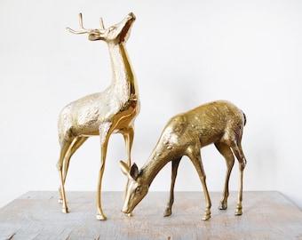 vintage brass deer figurines, large brass deers, mid century decor, christmas holiday decoration