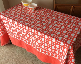 Vintage Love Hearts Tablecloth Retro Red & White Fabric for Home Décor, House, Apartment, Serving, or Project Sewing, Crafts, Pillows