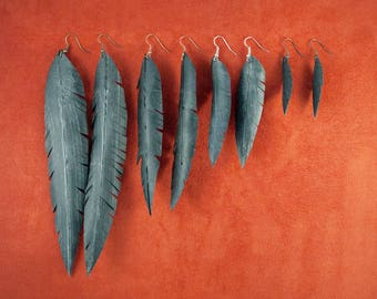 Vegan Feather Bike Tube Earrings