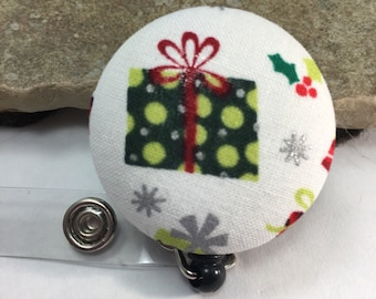 One Sale Name badge fabric covered badge reels CHRISTMAS design