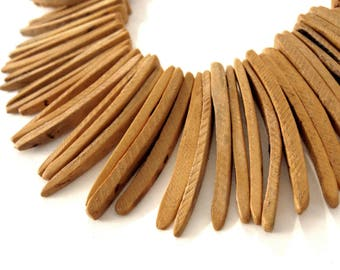 Peach Orange Burnt Wood Stick Beads - coconut indian stick 1 1/2 inch - 25pcs  (PC202E)