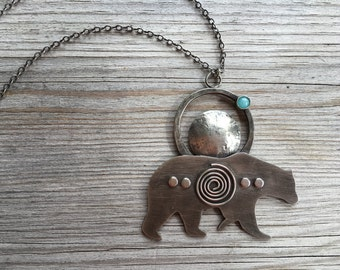 Amazonite Bear Totem Necklace