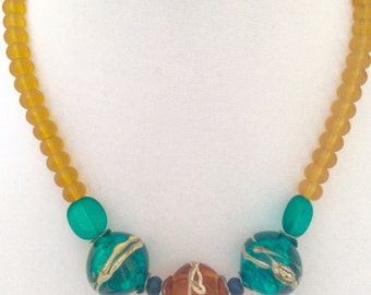 Aqua and amber hollow bead necklace