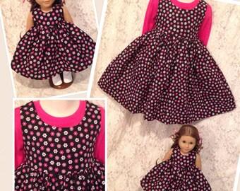 Dainty Daisies * Matching dress CUSTOM SIZES child 2 3 4 5 6 7 8 9 10 12 14 & American Girl Doll, Bitty Baby, Wellie Wishers, My Twinn