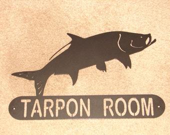 Tarpon Fish ADDRESS / NAME  PLAQUE Sign Home Decor Wall House Metal Ocean Personalized Large