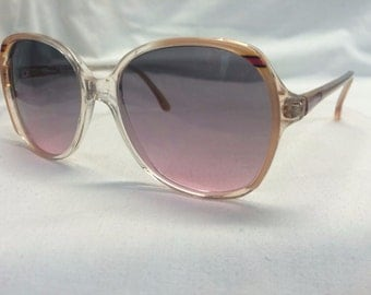 Women's oversize sunglasses, Vintage 1970s Sunglasses with Hombre Lenses, Gradient Lens Sunglasses New Old Stock, Clear Red and Brown