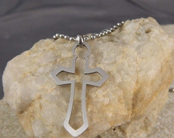 Stainless Steel Outline Cross Necklace with Ball Chain