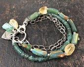 Ancient Roman Glass Bracelet, Apatite Bracelet, Teal Bracelet, Multi Strand Bracelet, Sterling Silver Chain Bracelet, Rustic Bracelet