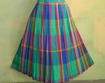 "S 27"" Waist 70s 80s Evan Picone Skirt Vivid Textured Plaid Pleated Skirt Wool Blend Preppy Skirt"