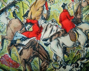 "Vintage Fox Hunt Silk Scarf 20"" Square Scarf Pictorial Novelty Beautiful Detail Equestrian Horses"