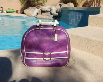Vintage  Bowling Bag Purple and White