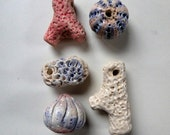 Artisan made ceramic beads and charms - set of 5 - Beach Combing II - coral, sponge, urchins