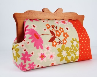 Clutch purse with wooden frame - Retro flowers and dots on red - Home purse / Japanese fabric / Melody Miller / metallic gold pink sage