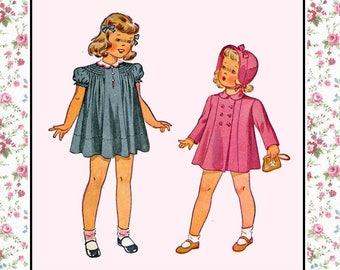 Vintage 1941-Toddler Sewing Pattern-Darling Shirred Loose Fitting Dress-Raglan Sleeves-Tailored Coat-Brimmed Hat-Bows- Size 1-Mega Rare