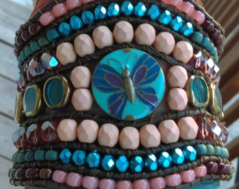 Earth Air Sand and Sea Beaded Handwoven Leather Statement Cuff Bracelet Umbre Silk Ribbon Wrap