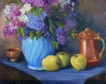 Spring Still Life Art,Blue Purple Lilacs,Blue Vase,Golden Apples,Copper Pot,Spring Floral Bouquet on Canvas by Cheri Wollenberg