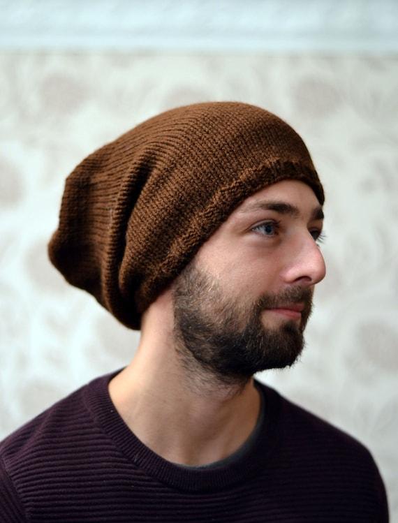 Brown Slouchy Hat Dreads Festival Hat Skater vegan Slouch Hat Knit Hat Beanie Hat Slouchy Beanie