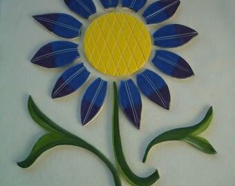 BBFA -16 Pc BLUE, PURPLE Flowers, Greens  - Ceramic Mosaic Tiles
