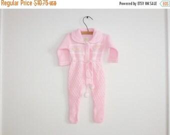 SALE // Vintage Pink Knit Baby Sleeper