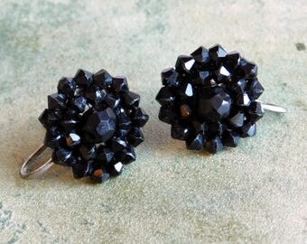 Vintage Jet Black Faceted Bead Earrings - Possibly Genuine Jet - Silvertone Screwback Fasteners - 1940s 1950s - Dramatic Mourning Jewelry