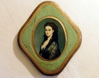 Vintage Florentine Gold-Gilt Painted Diamond-Shaped Plaque - Spanish Lady Portrait - Hollywood Regency Wall Decor - Mid-Century from Italy