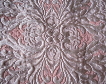 Vintage Italian Gorgeous Heavy Peachy Pink and Cream Brocade Fringed 92x106 Bedspread