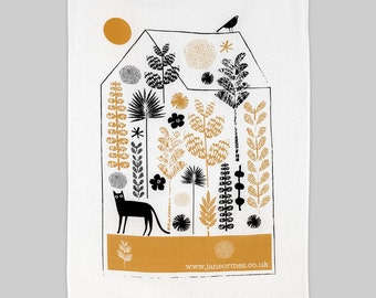 Cat trapped in a greenhouse 100 % cotton handprinted tea towel