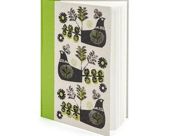 Jane Ormes handprinted green spined blank paged hardback A4 sketchbook