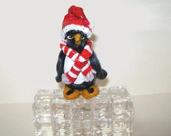 Polymer Clay Penguin Sculpture, Christmas Home Decor, Bird Folk Art, Hand-sculpted Painted, Red Black White, Winter Figurine Knick Knack