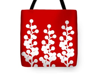 Red White Flowers Tote Bag, Double-Sided, Reusable Shopping Bag, School or Work Bag, Pop Art Overnight Bag, Women or Girl's Carry-All
